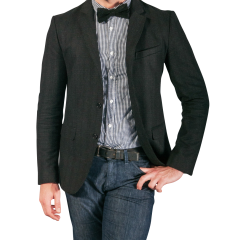 Black Suit Jacket with a Bow Tie