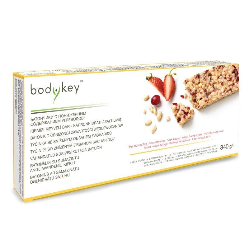 Tyčinka se sníženým obsahem sacharidů - příchuť červeného ovoce bodykey™ 14 ks