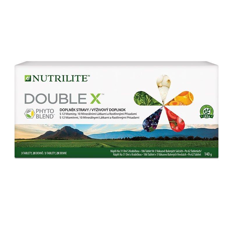 Krabička s NUTRILITE™ DOUBLE X™ Multivitaminovým, multiminerálním doplňkem stravy s fytonutrienty 18
