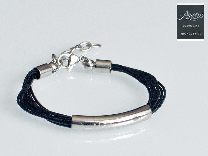 Dámský kožený náramek Amore KZ708 chirurgická ocel