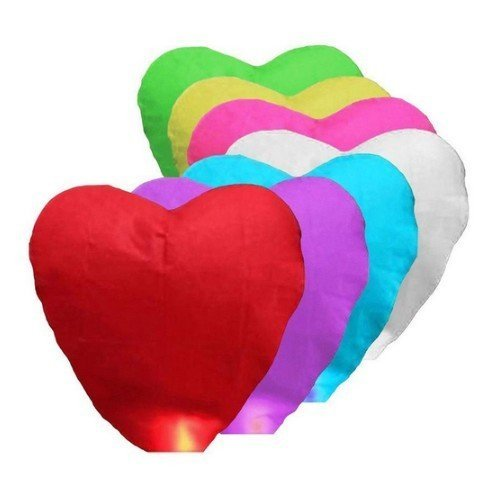 Lampiony štěstí srdce 10 ks mix barev