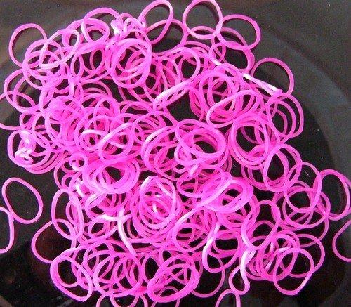 Loom Bands gumičky s háčikom na pletenie - priesvitné ružové