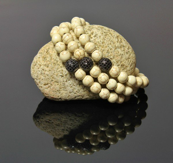 Náramok s Disko guľou LK318 z prírodných Jaspis bielych kameňov
