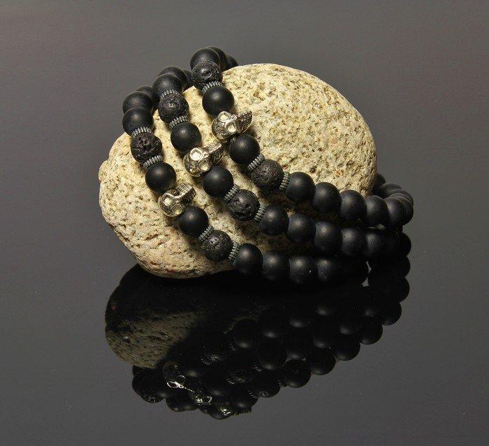 Náramek LK301 s lebkou lávové kameny