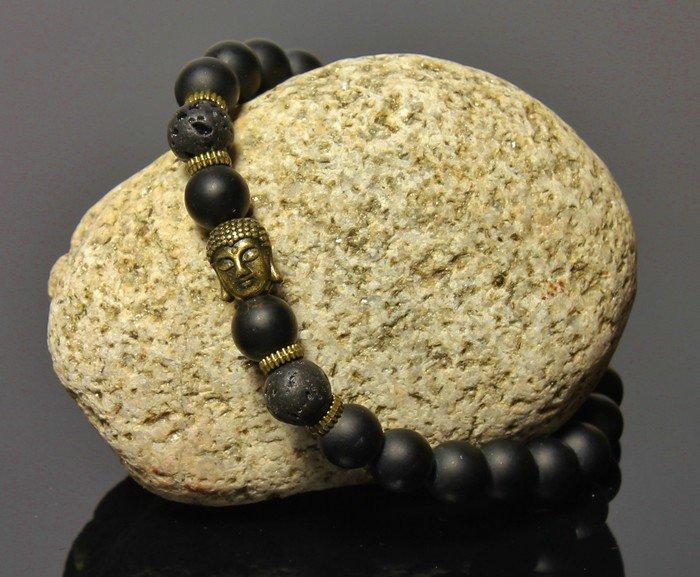 Náramok so zlatým Buddhom LK308 lávové kamene
