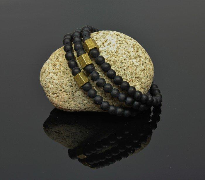 Náramok so zlatým Šestihranom LK326 lávové kamene