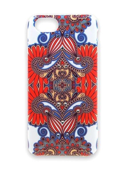 Púzdro Matex iPhone 6/6S červeno biele s kamienkami