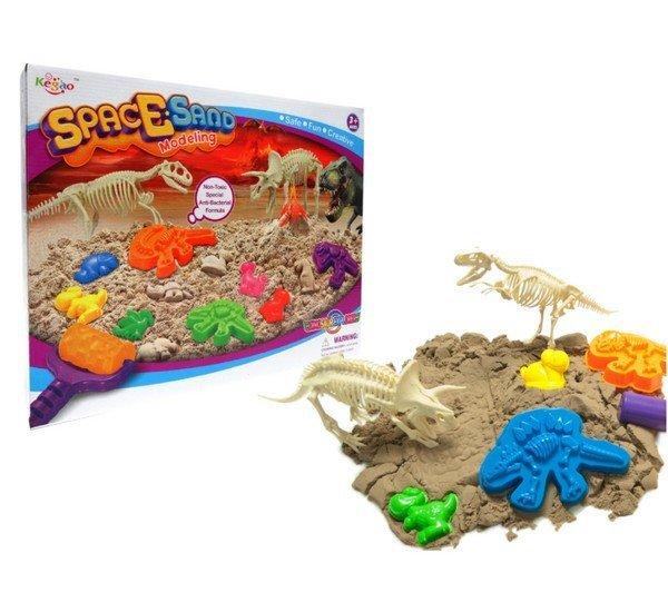 SpaceSand Magický písek 1500 g + formičky + fosílie dinosauři