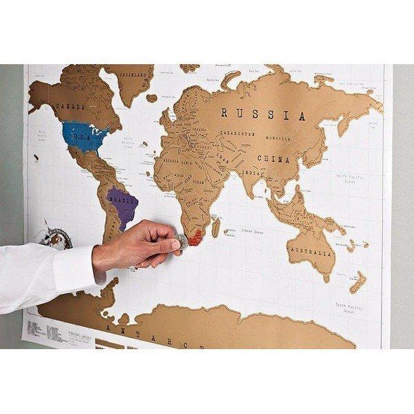 Stírací mapa světa DE LUXE