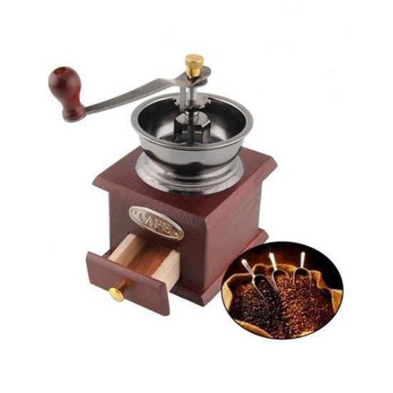 Retro ruční mlýnek na kávu Bledě hnědá