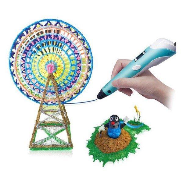 3D pero s LCD displejem a s příslušenstvím Modré