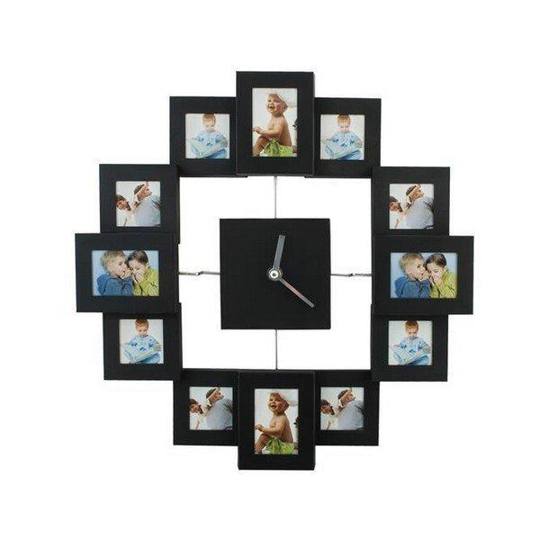Nástěnné hodiny s fotorámečky 12 fotografií