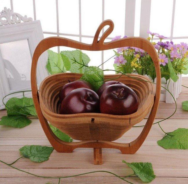 Dřevěný skládací košík + podložka pod hrnec