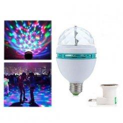 Rotačná LED disco RGB žiarovka s adaptérom