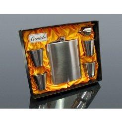 Nerezová placatka XXL 540 ml s pohárky a nálevkou