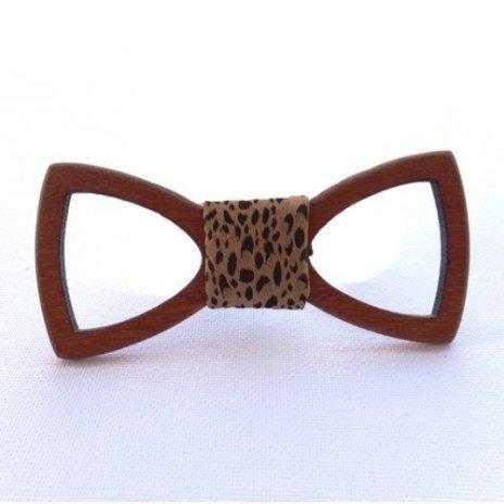 Luxusný drevený motýlik Doussie výrez