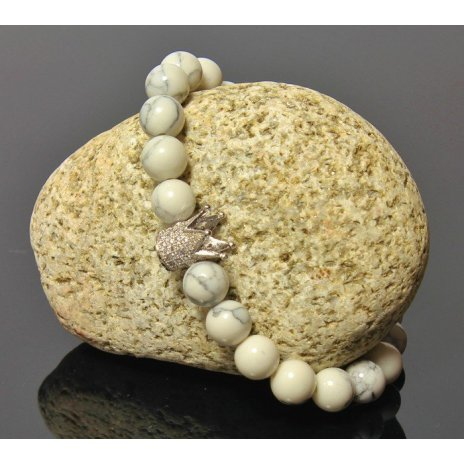 Náramok s Korunou LK320 prírodný kameň Magnezit