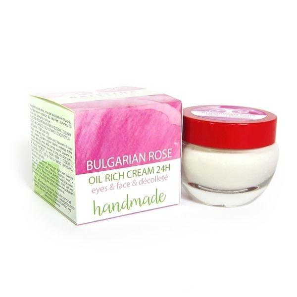 Naturalny ręcznie produkowany krem 24godziny z olejkiem z róży bułgarskiej 50 ml