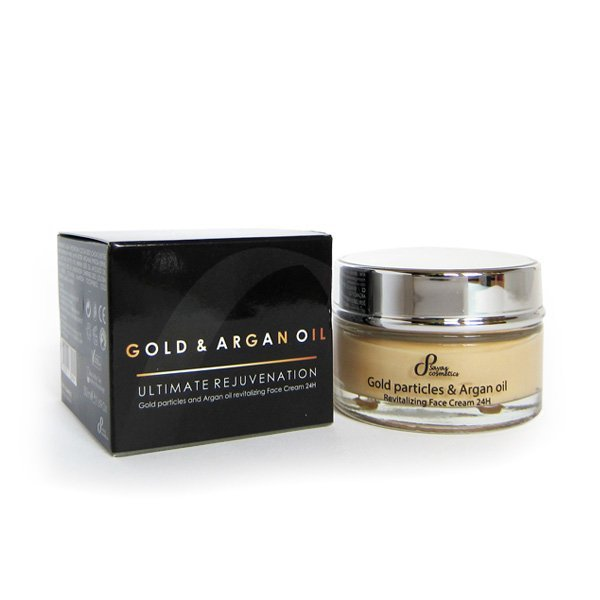 Přírodní revitalizující krém na obličej 24h zlaté částice a arganový olej 50 ml