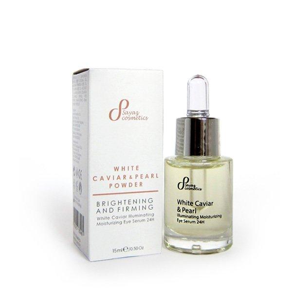 Naturalne rozjaśniające serum olejowe pod oczy biały kawior & perła 24h 15 ml