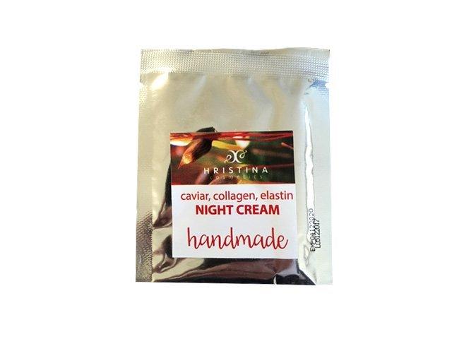 Natürliche handgemachte Nachtcreme mit Kaviar, Kollagen und Elastin lifting 5 ml