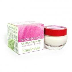 Natürliche handgemachte 24-Stunden-Creme mit bulgarischem Rosenöl Augen & Gesicht & Dekolleté limitierte Edition 50 ml
