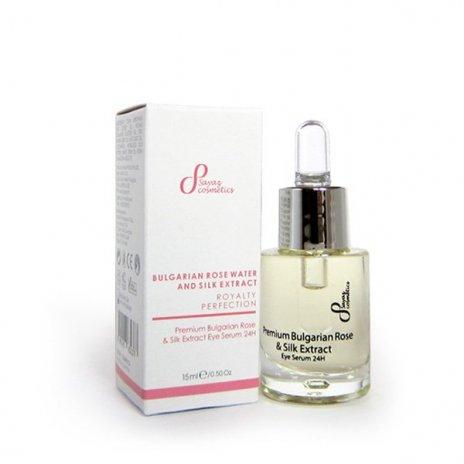 Naturalne premium serum olejowe pod oczy róża bułgarska i jedwab 24h 15 ml