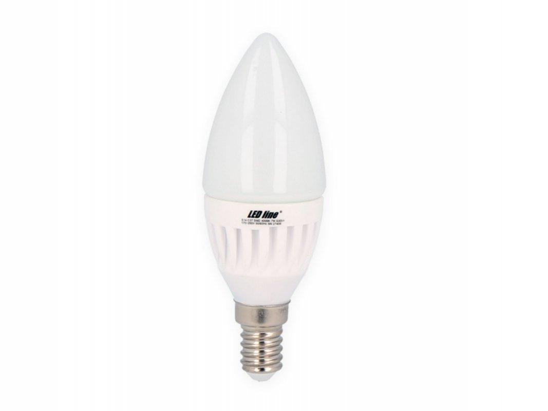Led Line AKCE: 9 + 1 Led svíčka E14 SMD 7W 630lm teplá (55W)