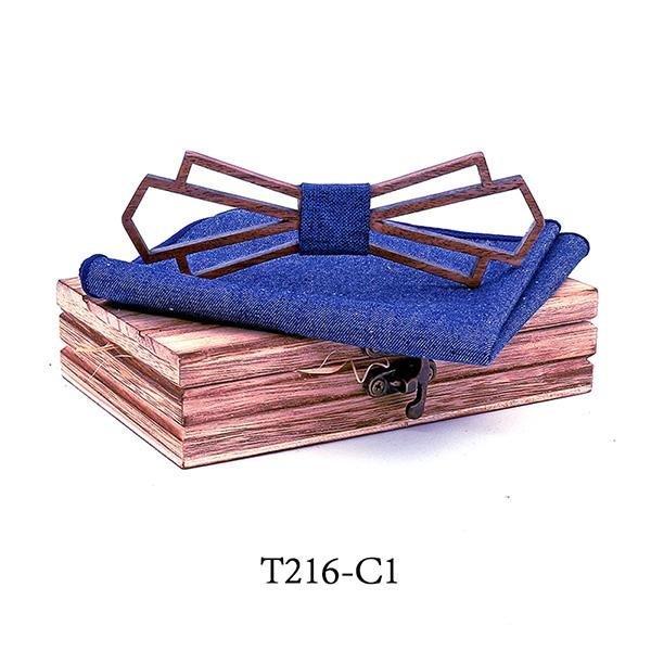 Mahoosive Dřevěný motýlek s kapesníčkem T216