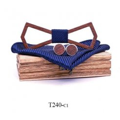 Mahoosive Dřevěný motýlek s kapesníčkem a manžetovými knoflíčky T240