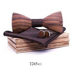 Mahoosive Dřevěný motýlek s kapesníčkem a manžetovými knoflíčky T245