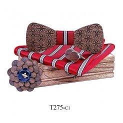 Mahoosive Dřevěný motýlek s kapesníčkem a manžetovými knoflíčky T275