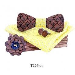 Mahoosive Dřevěný motýlek s kapesníčkem a manžetovými knoflíčky T276
