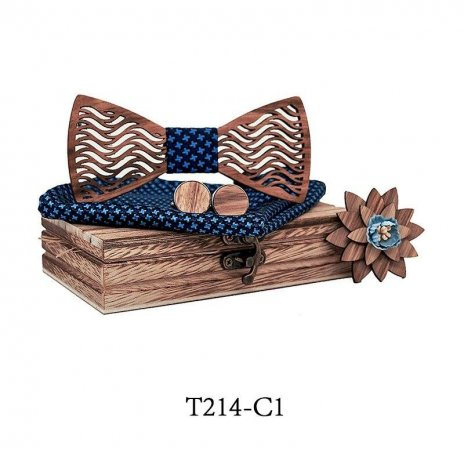 Mahoosive Dřevěný motýlek s kapesníčkem a manžetovými knoflíčky T214