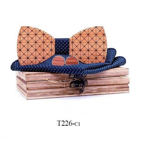 Mahoosive Dřevěný motýlek s kapesníčkem a manžetovými knoflíčky T226