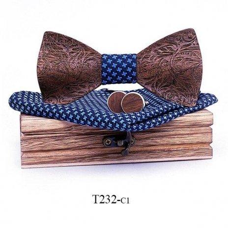 Mahoosive Dřevěný motýlek s kapesníčkem a manžetovými knoflíčky T232