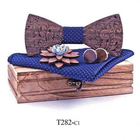 Mahoosive Dřevěný motýlek s kapesníčkem a manžetovými knoflíčky T282