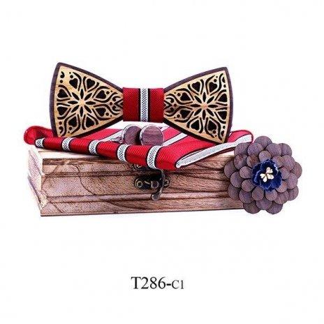 Mahoosive Dřevěný motýlek s kapesníčkem a manžetovými knoflíčky T286