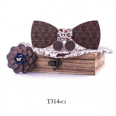 Mahoosive Dřevěný motýlek s kapesníčkem a manžetovými knoflíčky T314