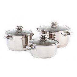 PREMIUM Sada nerezového nádobí se skleněnými poklicemi, 6 dílů