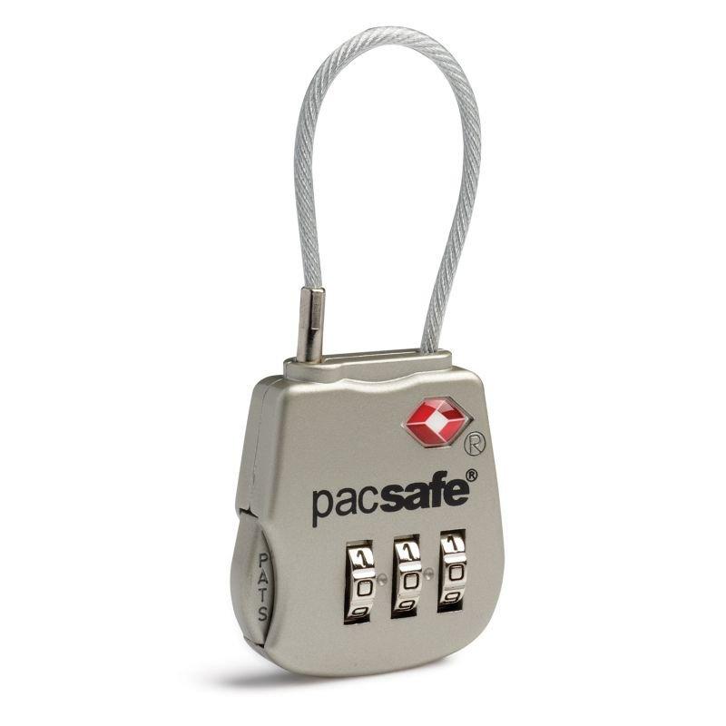 Pacsafe Prosafe 800 lankový kódový TSA zámek na zavazadla stříbrný