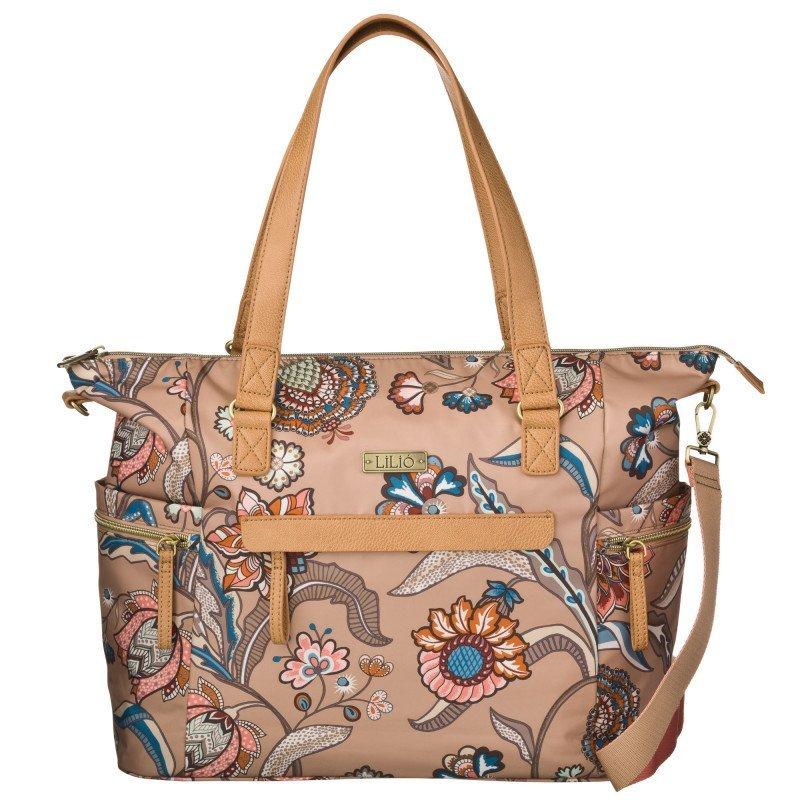 LiLiÓ Arcadia Carry All Fudge květovaná kabelka s přihrádkou na notebook 45x14x33 cm