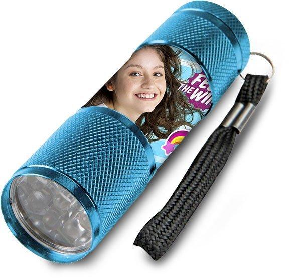 Dětská hliníková LED baterka Soy Luna azurová