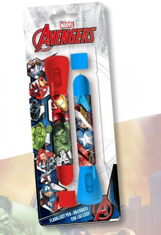 Dětská LED svítilna, baterka a propiska 2v1 Avengers 2 ks