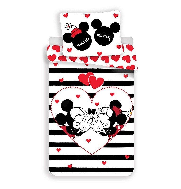 JERRY FABRICS Povlečení Mickey a Minnie stripes Bavlna, 140/200, 70/90 cm