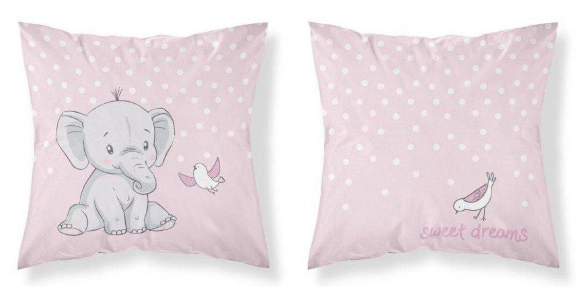 DETEXPOL Povlak na polštářek Slon růžová Bavlna, 40/40 cm