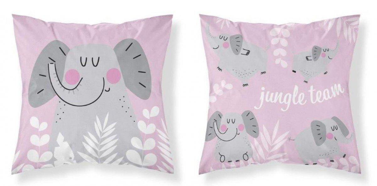 DETEXPOL Povlak na polštářek Slon Jungle pink Bavlna, 40/40 cm