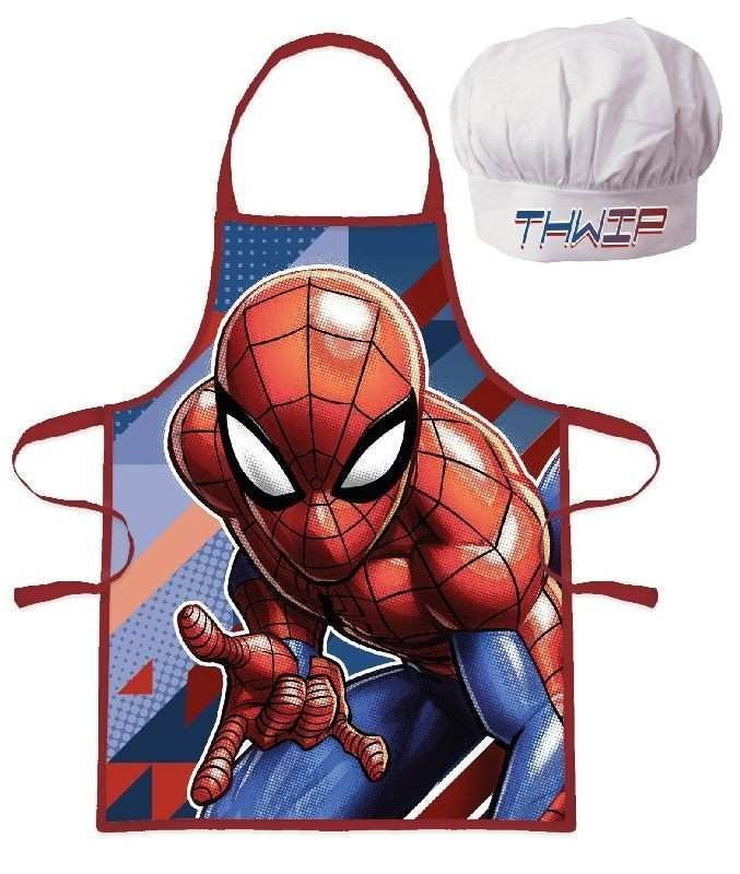 EUROSWAN Dětská zástěra s kuchařskou čepicí Spiderman Polyester 52x42 cm