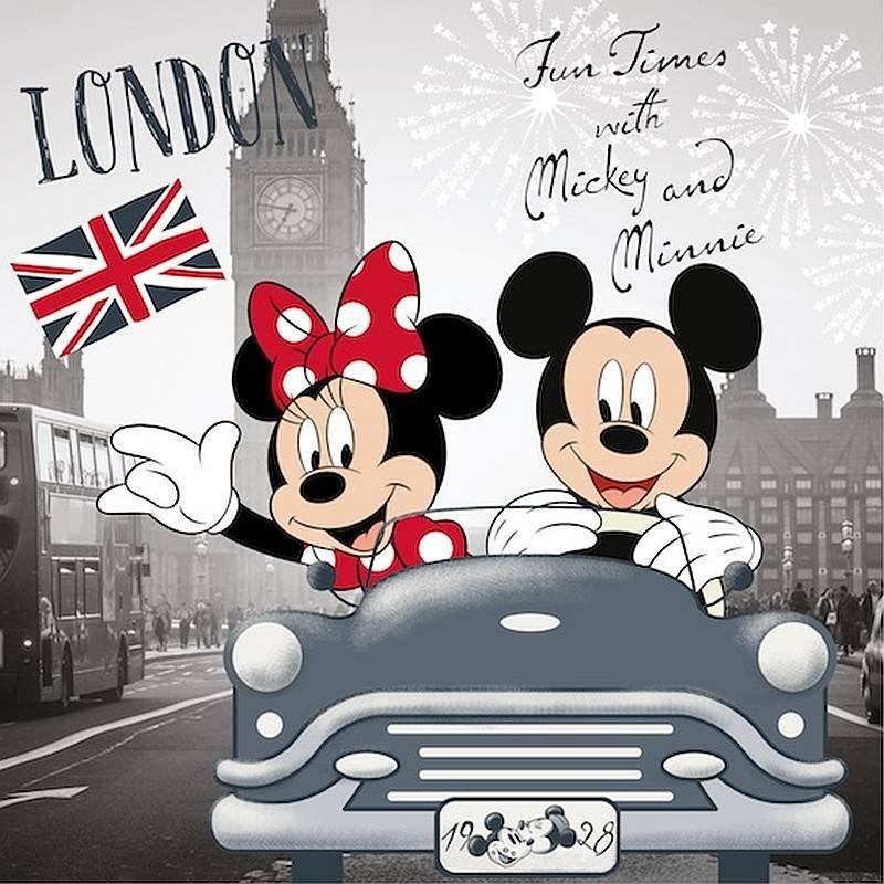 Povlak na polštářek Mickey a Minnie v Londýně micro 40/40