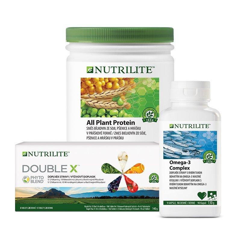 Balíček Foundational Trio s Omega-3 Complex 130 g, All Plant Protein 450 g a NUTRILITE™ DOUBLE X™ 186 tablet s fytonutrienty